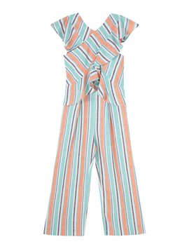 Habitual Stripe Wide Leg Ruffle Jumpsuit