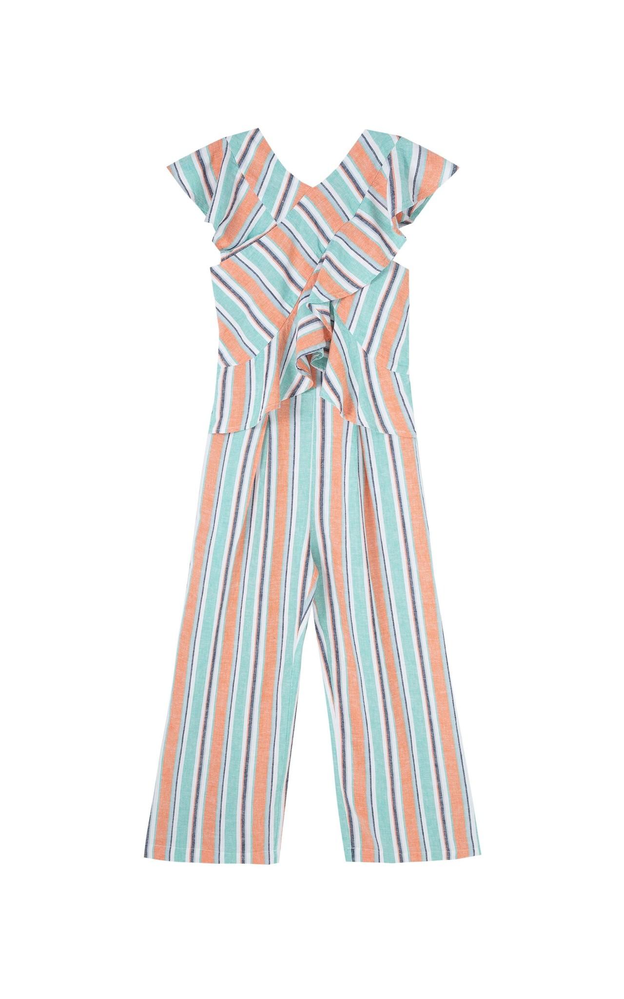 Habitual Stripe Wide Leg Ruffle Jumpsuit
