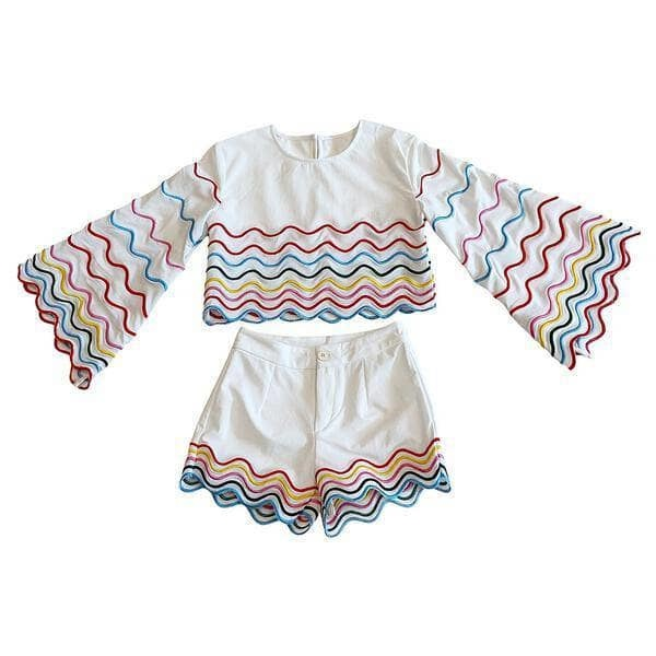 Lola & the Boys Rainbow Wave Short Set
