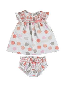 Mayoral Linen Polka Dot Baby Dress