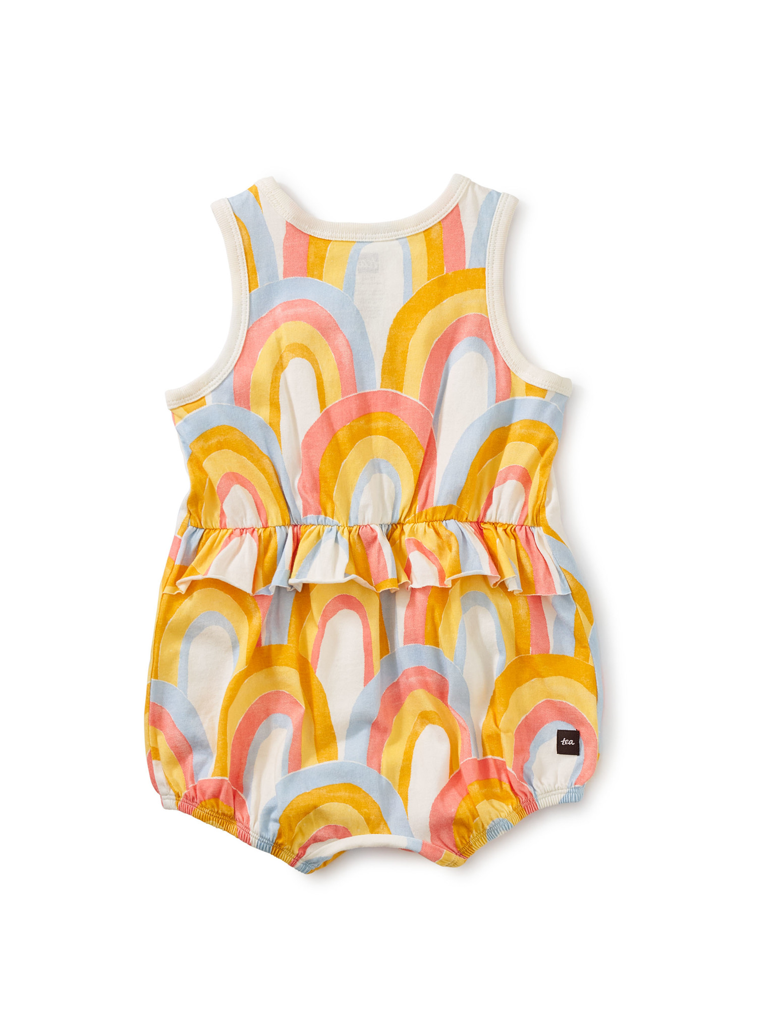 Tea Collection Rainbows Ruffle Waist Baby Romper