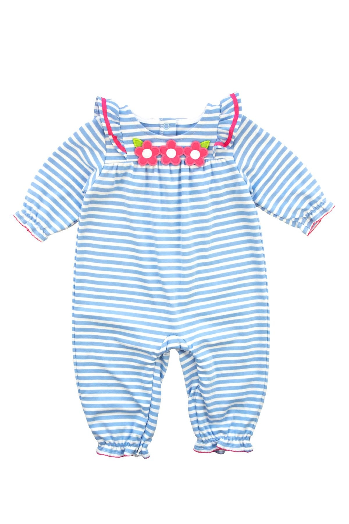 Florence Eiseman Ruffle Sleeve Blue Stripe Longall