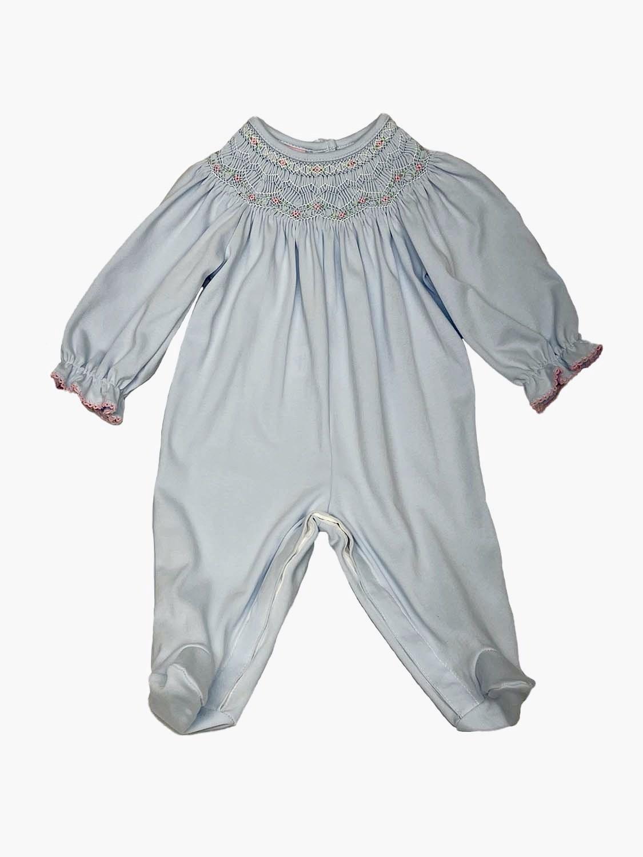 Petit Bebe Blue Knit Smocked Footie