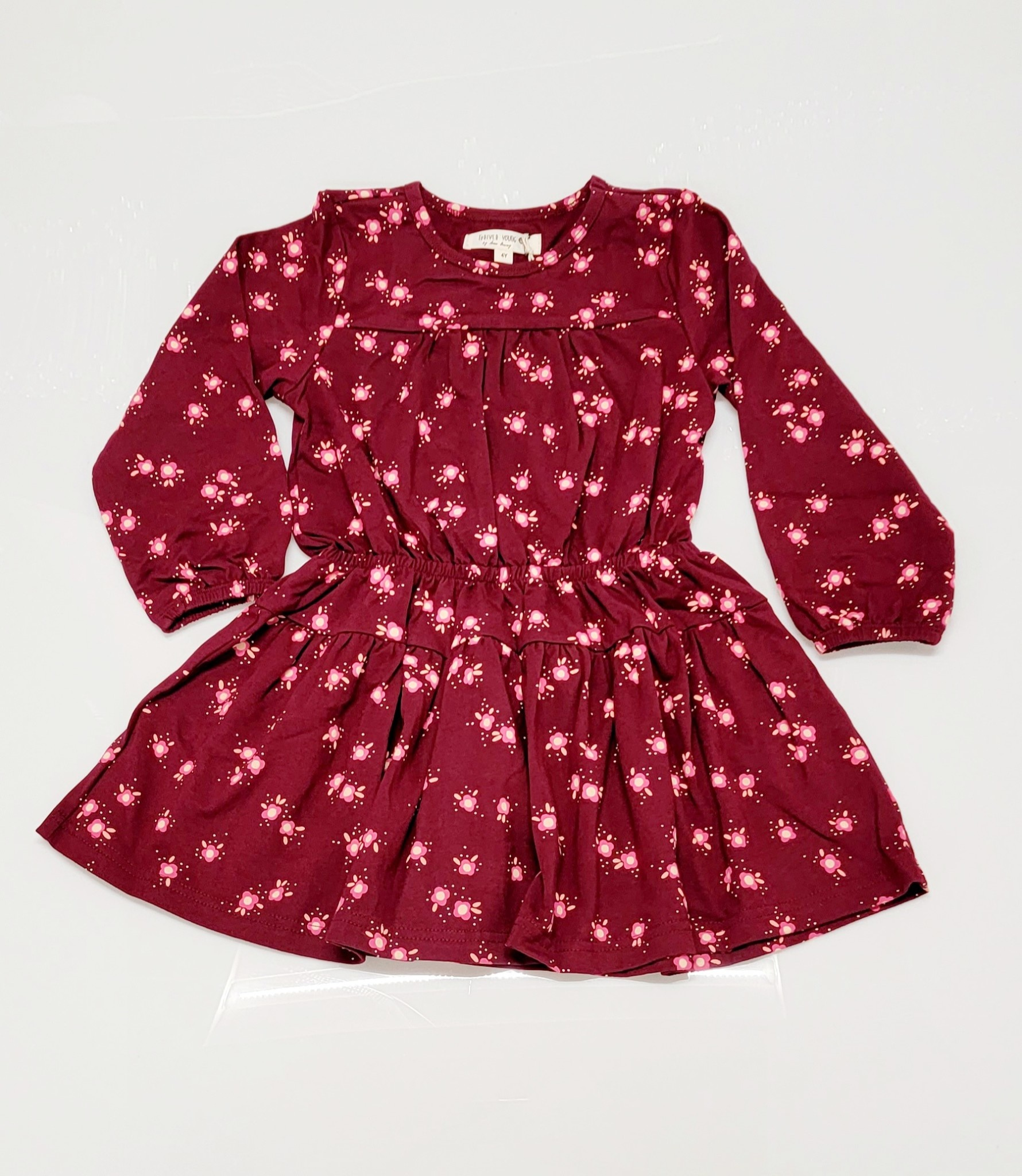 Forever Young Burgundy Skirted Floral Dress