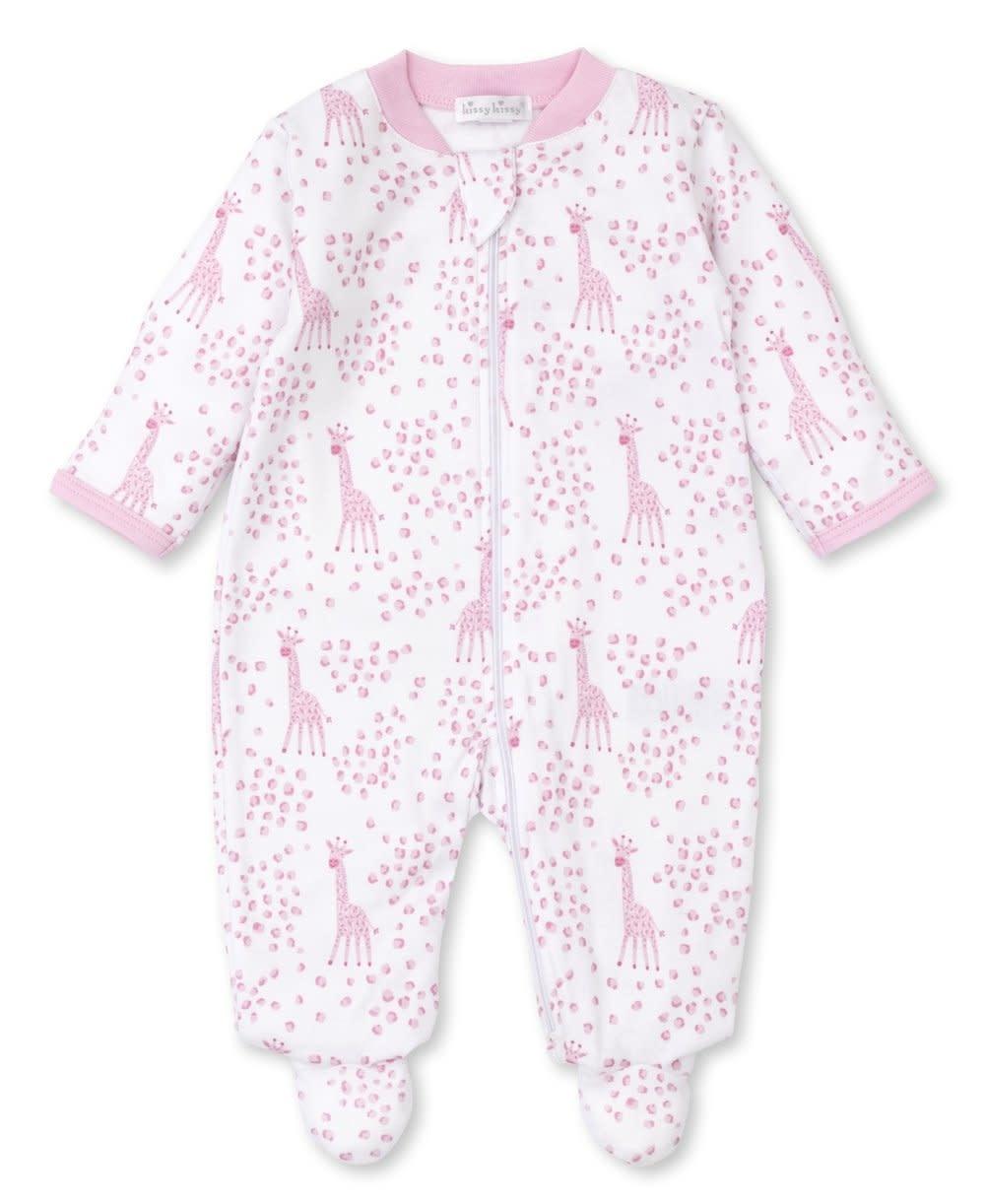 Kissy Kissy Pink Speckled Giraffes Zip Footie