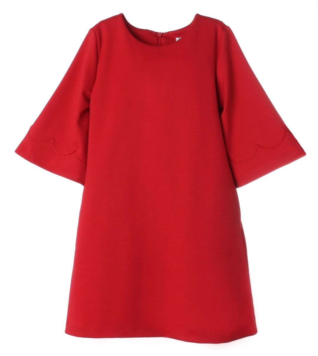 Gabby. Red Scalloped Shift