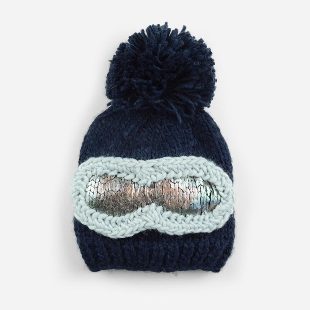 The Blueberry Hill Navy Ski Goggles Hat