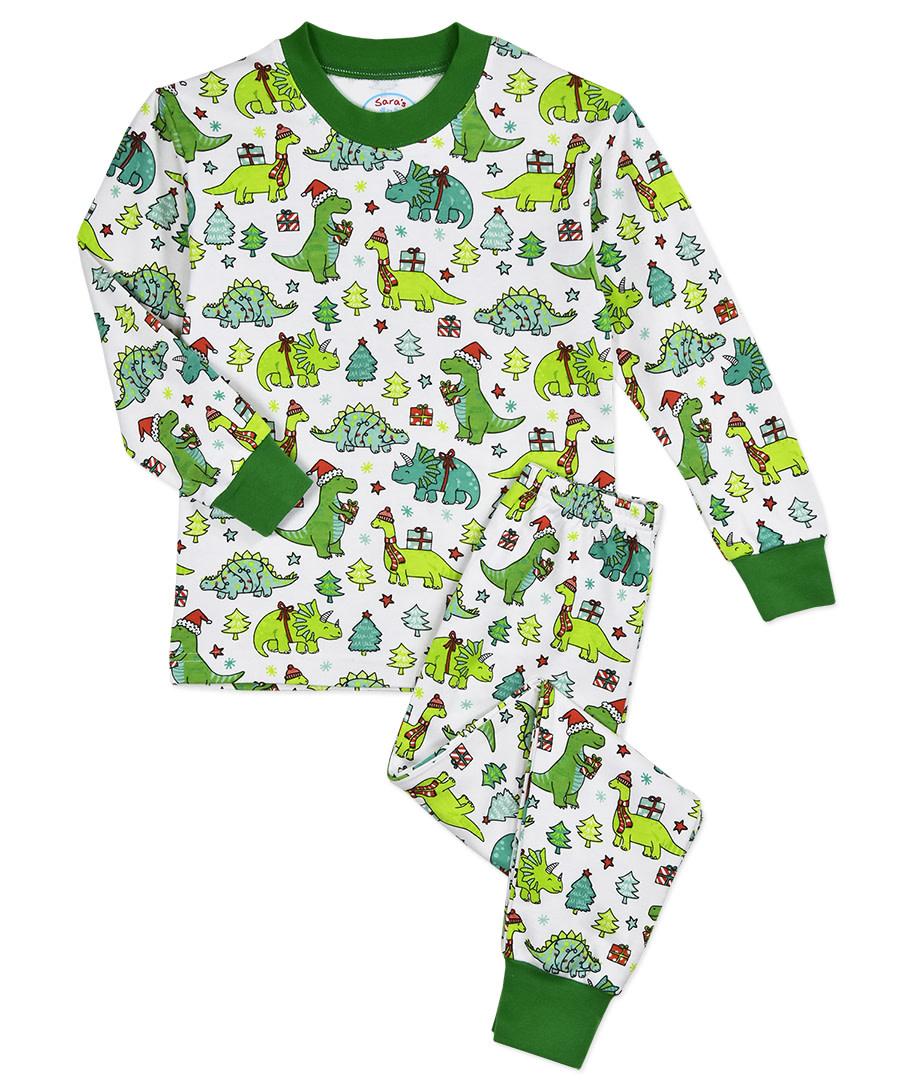 Sara's Prints Christmas Dino Pajamas