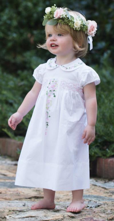 Edward Boutross Pink on White French Rosebud Dress