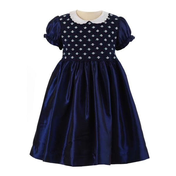 Rachel Riley Navy Taffeta Smocked Dress