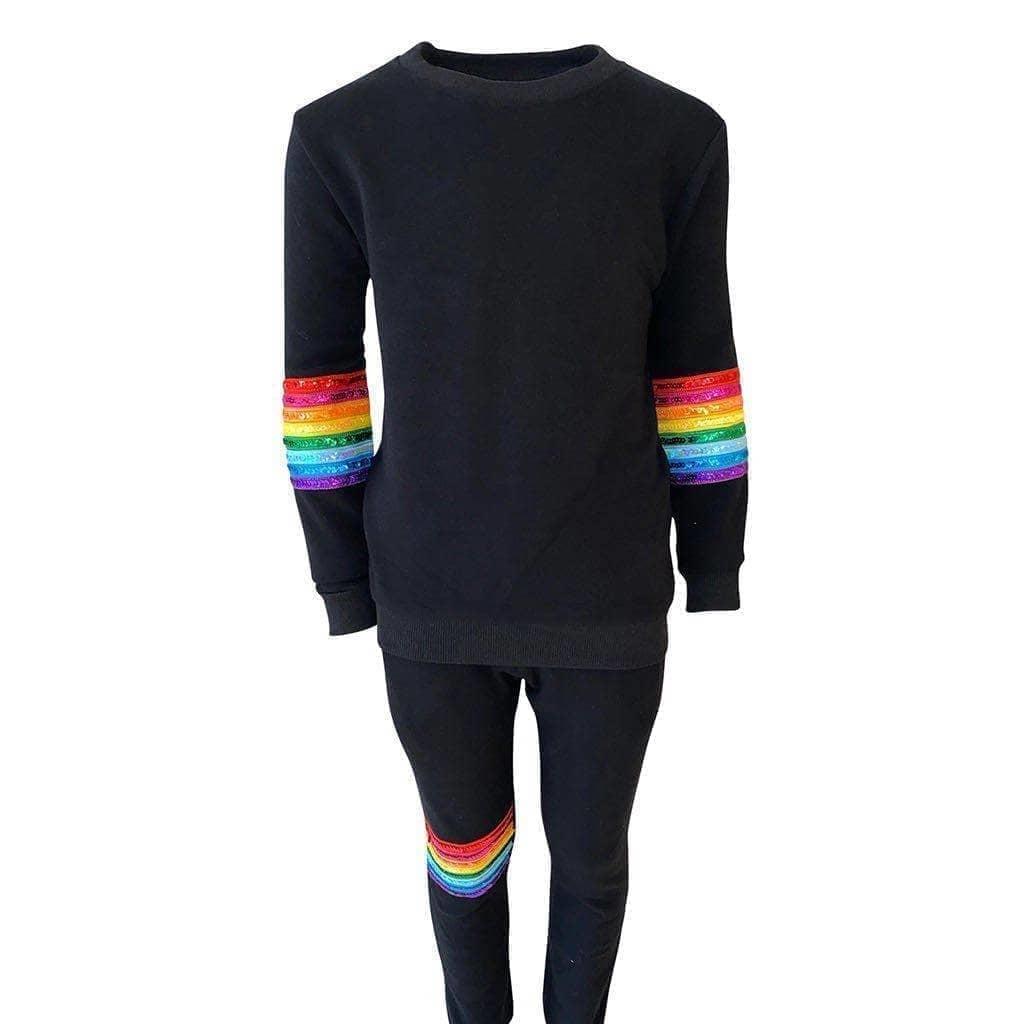 Lola & the Boys Rainbow Sequin Black Set