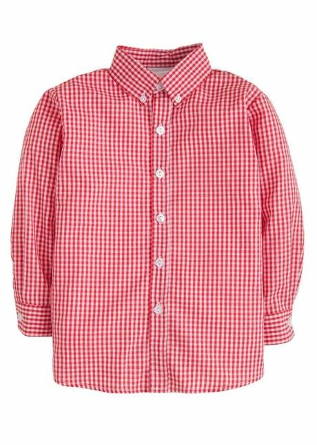 Little English Red Gingham Button Down