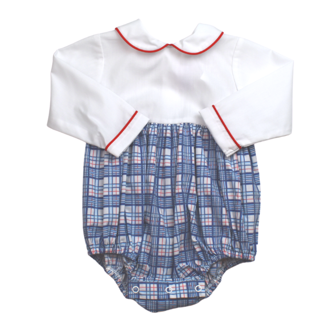 Lullaby Set Red/Navy Plaid Baby Bea Bubble