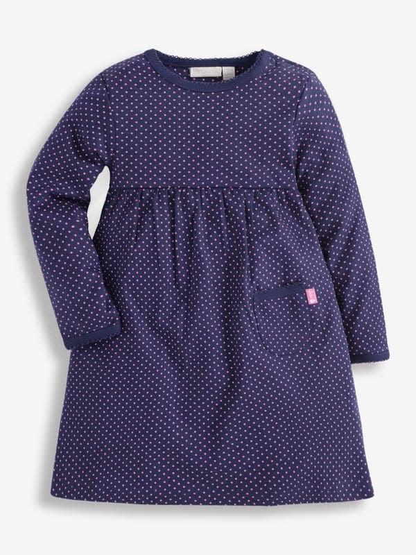 JoJo Maman Bebe Fuchsia Dot Navy Dress