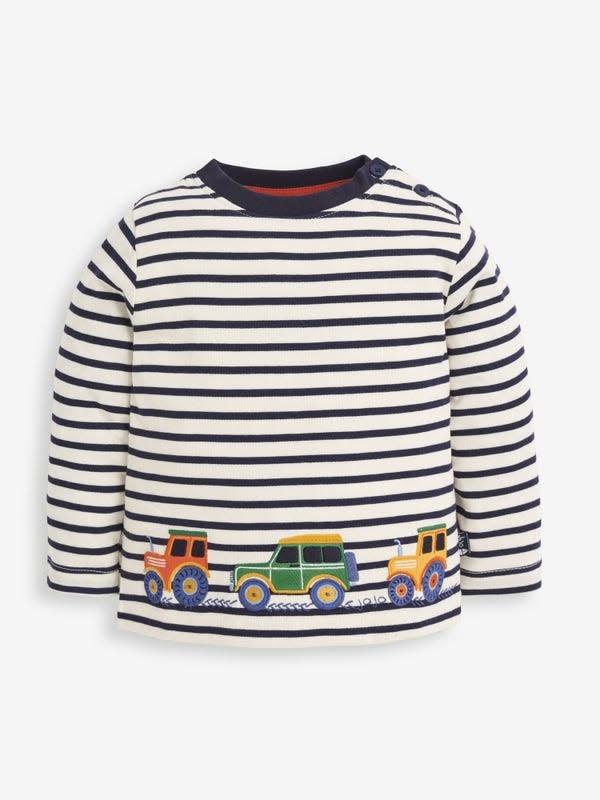JoJo Maman Bebe Striped Tractor Top