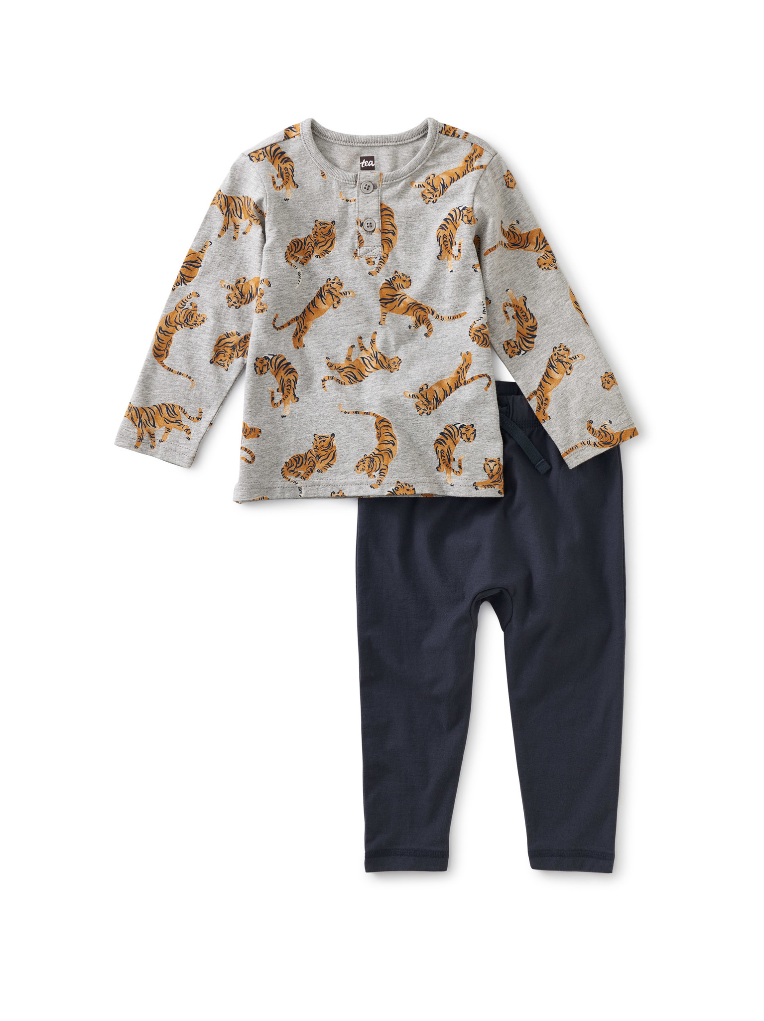 Tea Collection Tossed Tigers Henley Set