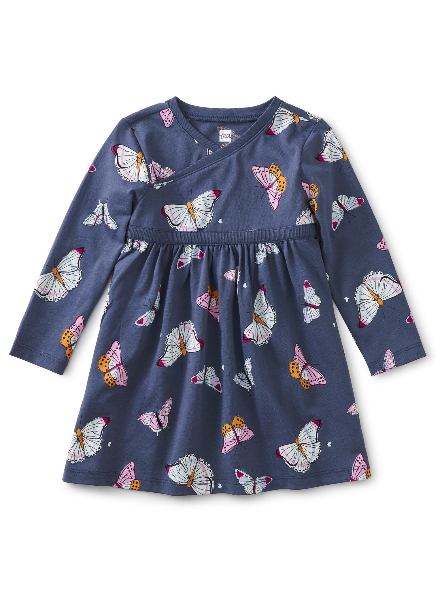 Tea Collection Butterfly Flurry Wrap Neck Dress