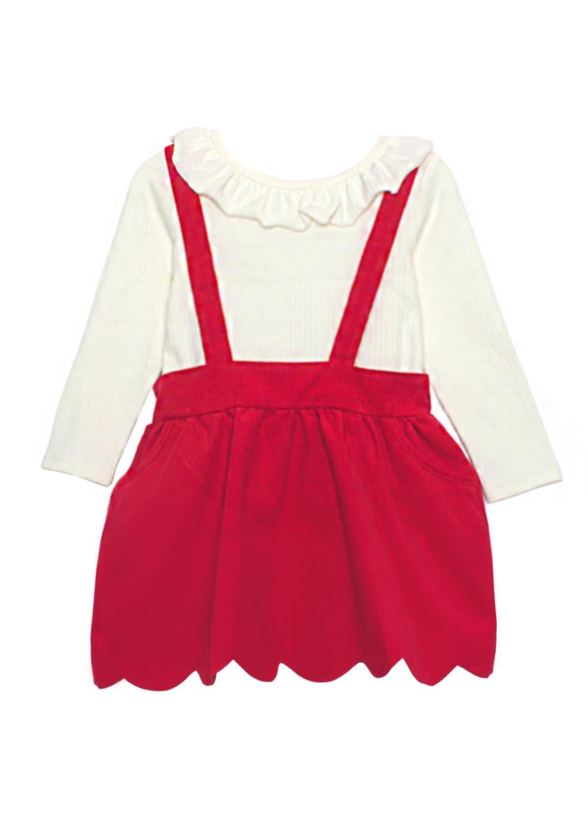 Isobella & Chloe Red Corduroy Skirt Set