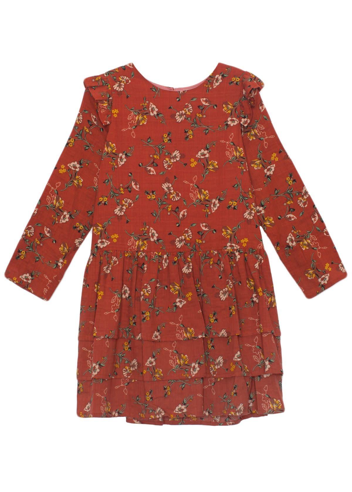 Mabel and Honey Orange Floral Woven Dress
