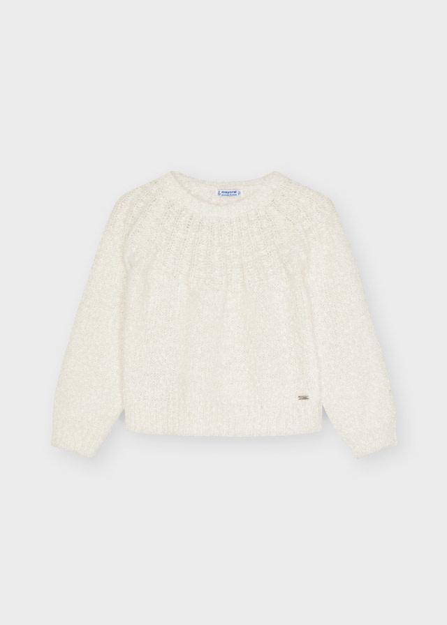 Mayoral White Lurex Sweater