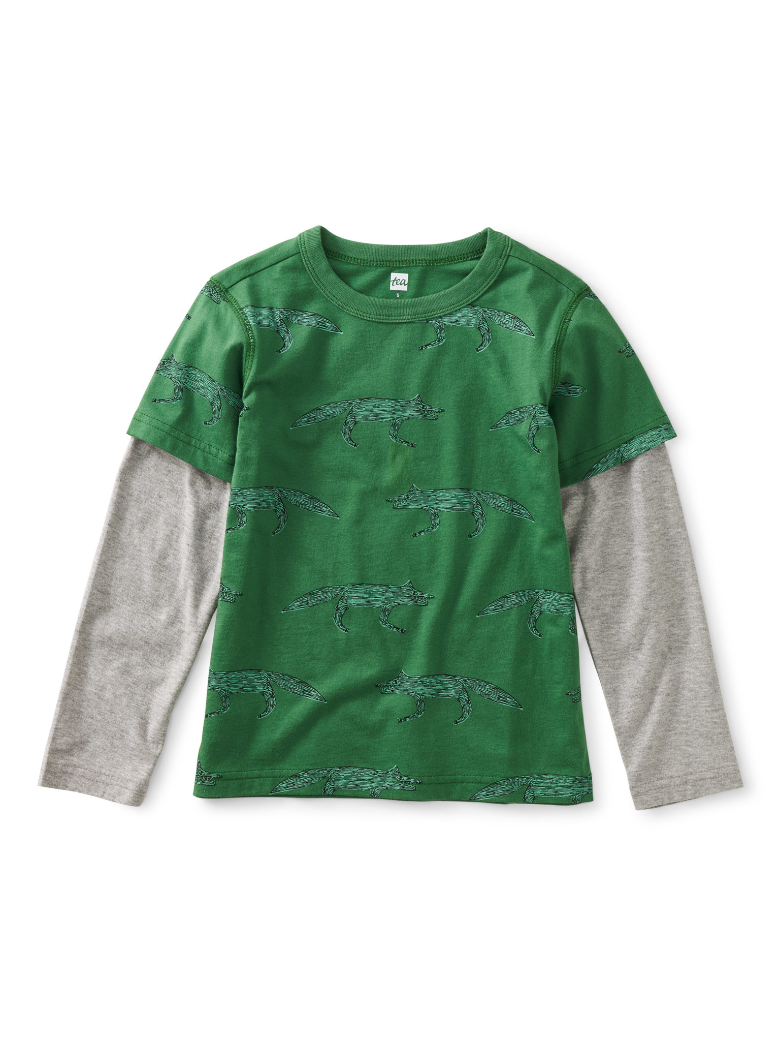 Tea Collection Wolfpack Layered Sleeve Tee
