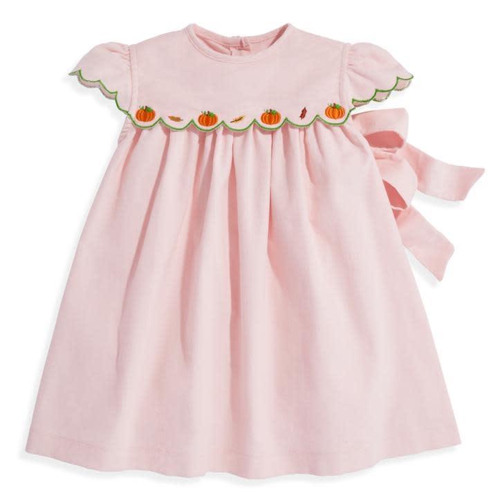 bella bliss Pumpkin Applique Blush Cord Dress