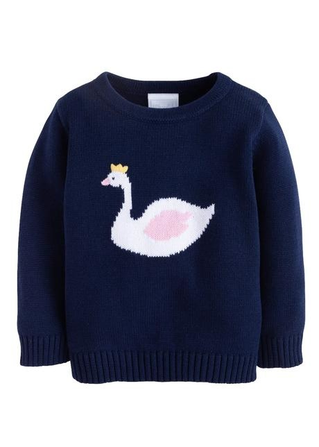 Little English Swan Intarsia Sweater
