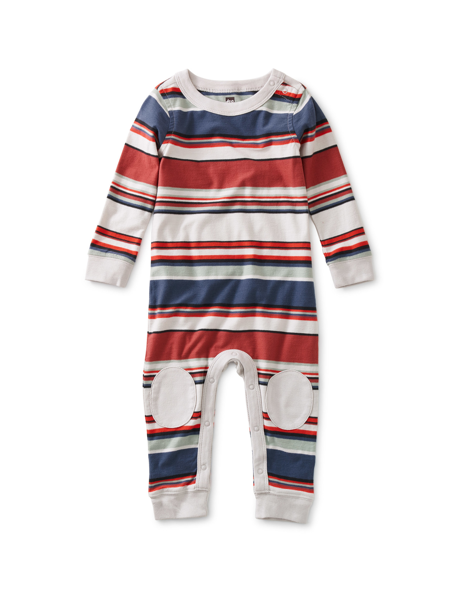 Tea Collection Red Stripe Knee Patch Romper