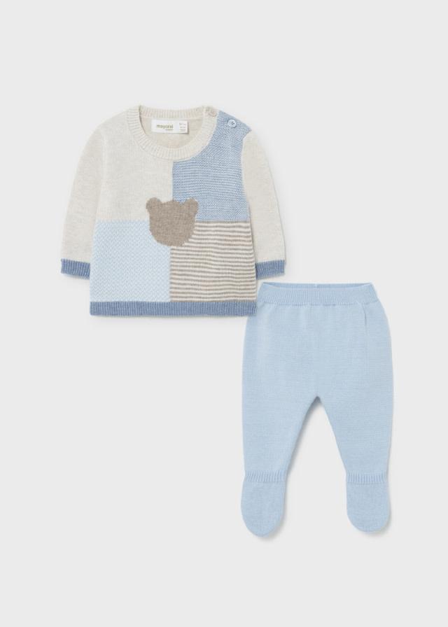 Mayoral Sky Blue Bear Sweater Set