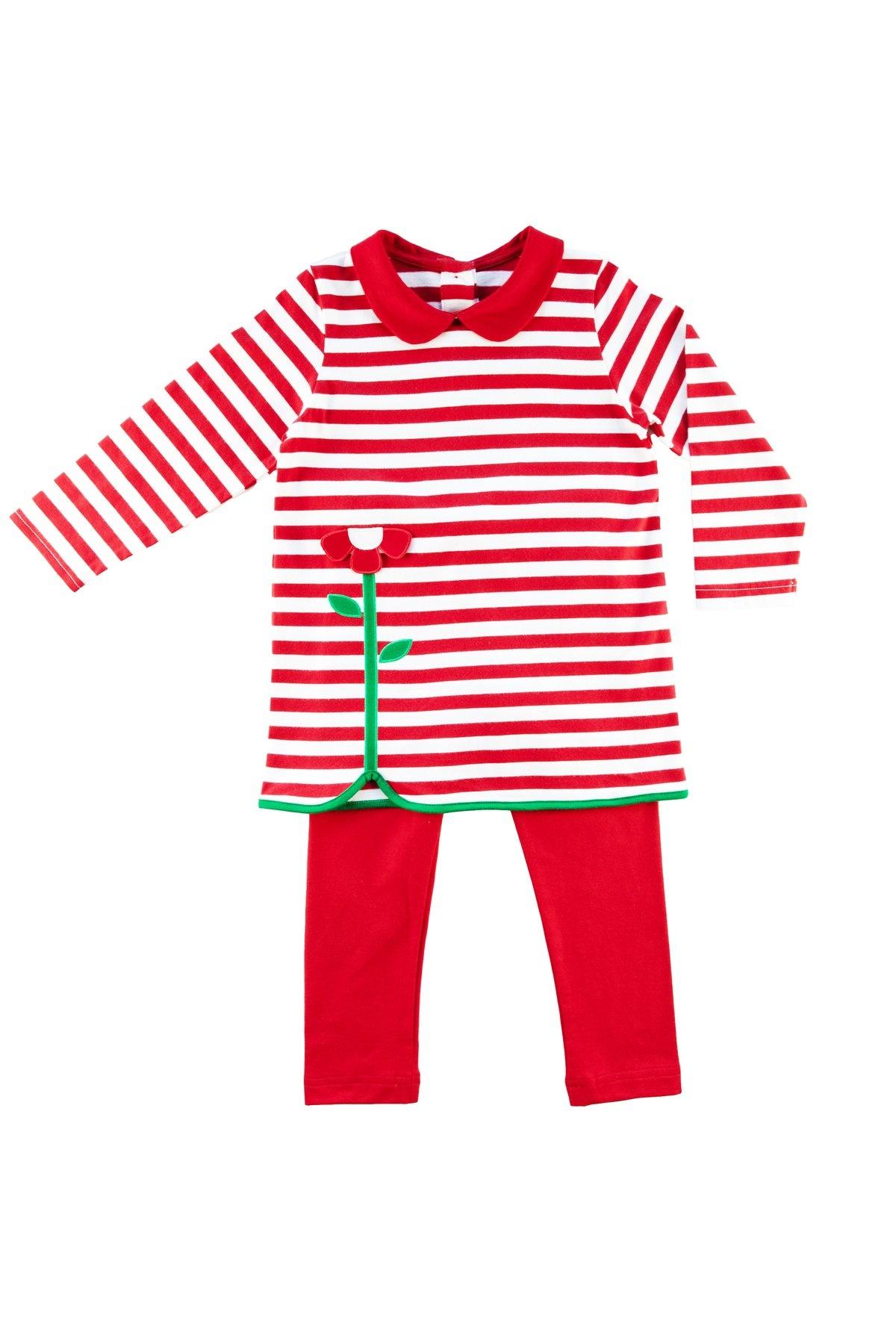 Florence Eiseman Red Stripe Tunic Set