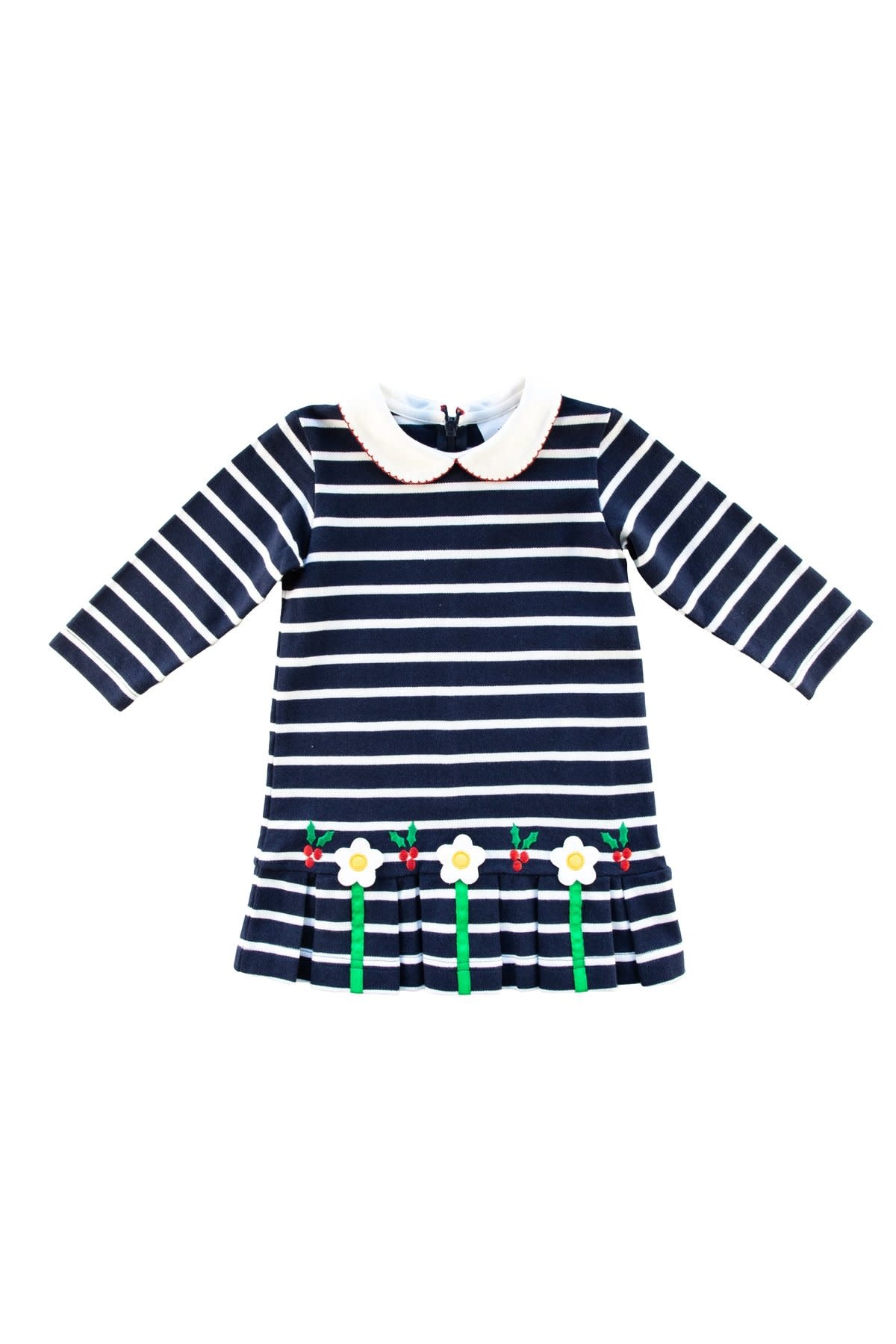 Florence Eiseman Holly and Flowers Stripe Pique Dress