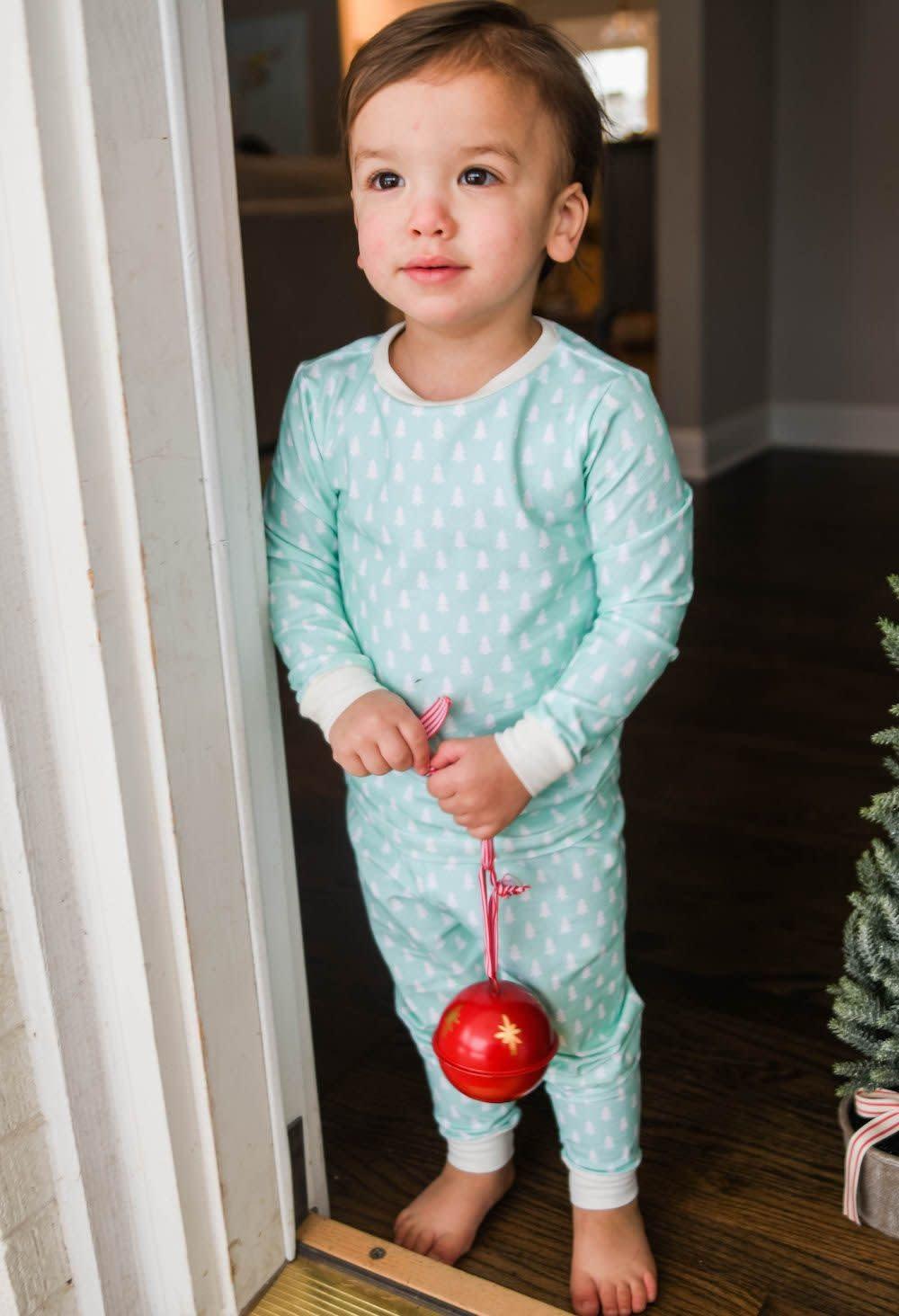 James and Lottie Mint Christmas Tree Pajamas