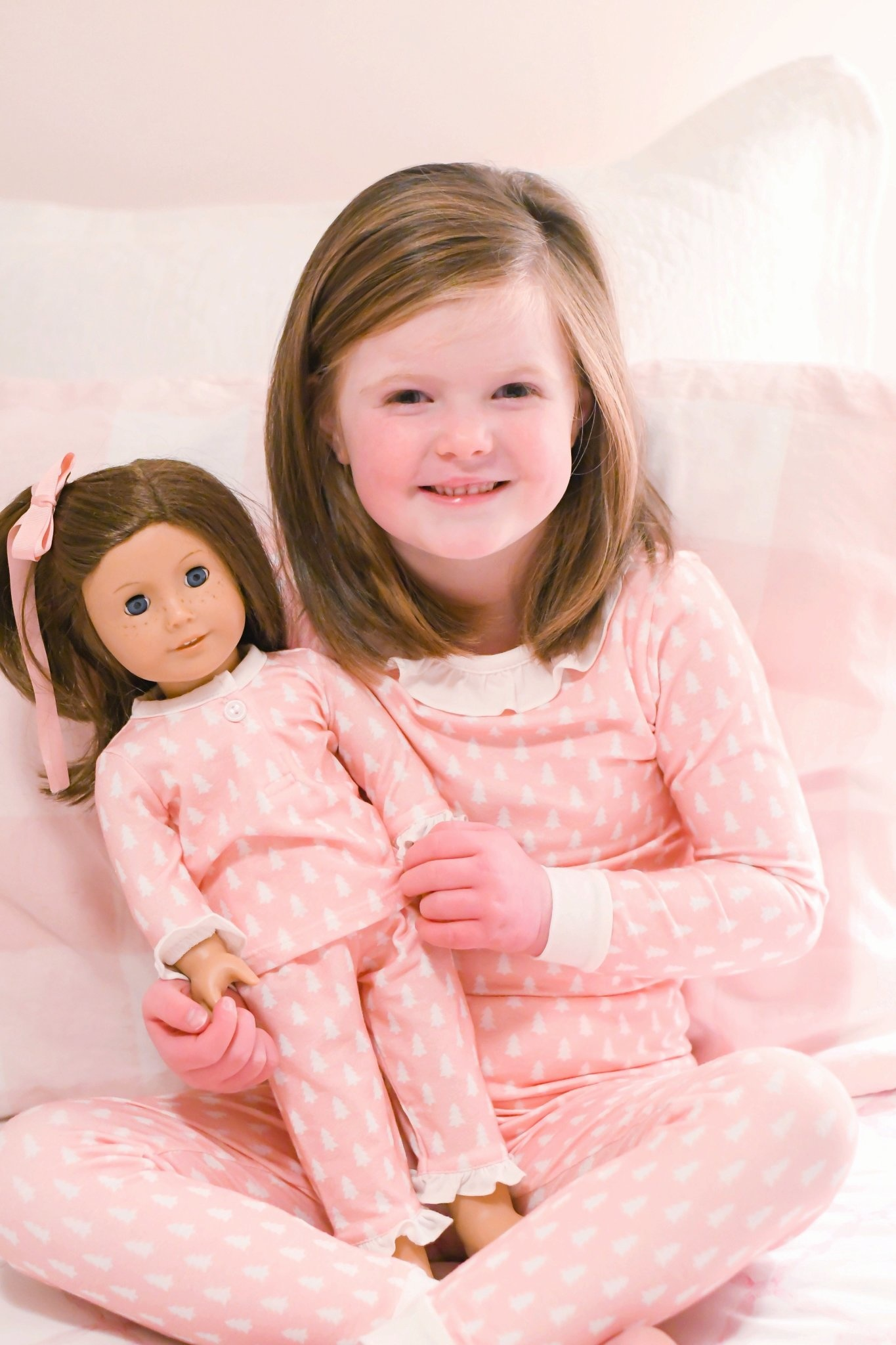 James and Lottie Pink Christmas Tree Doll PJs