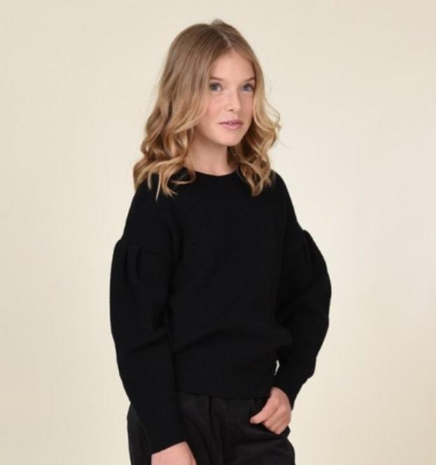 Mini Molly Black Pleat Sleeve Sweater