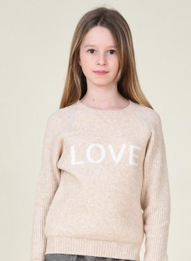 Mini Molly Beige Love Sweater