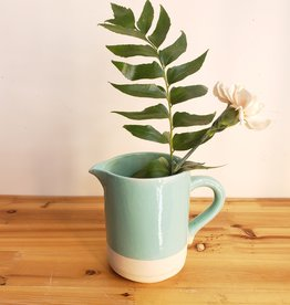 Aqua Stonewear Flower Pitcher