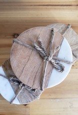 Round Wood and Marble Coasters