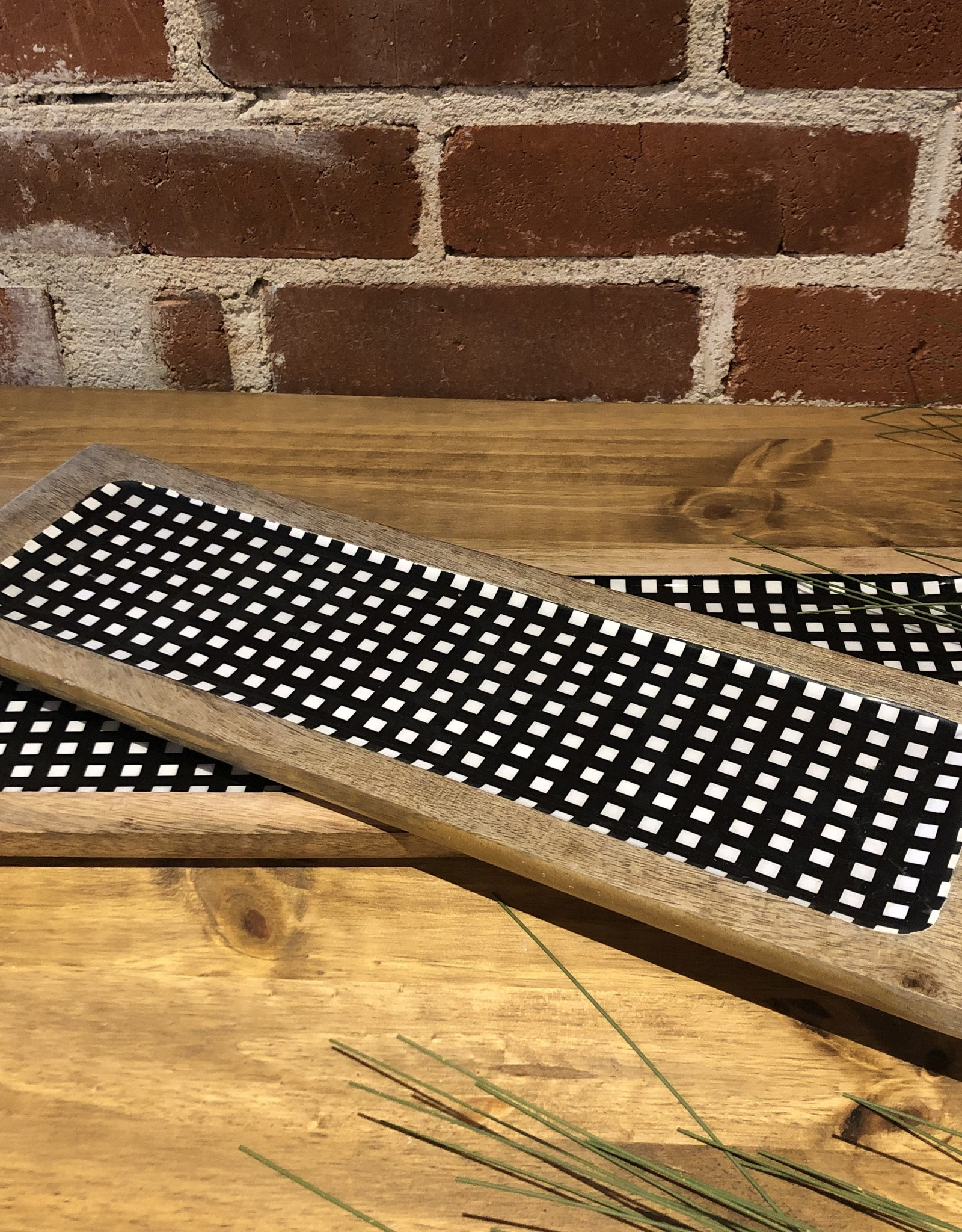 Gingham Serving Tray, s/2