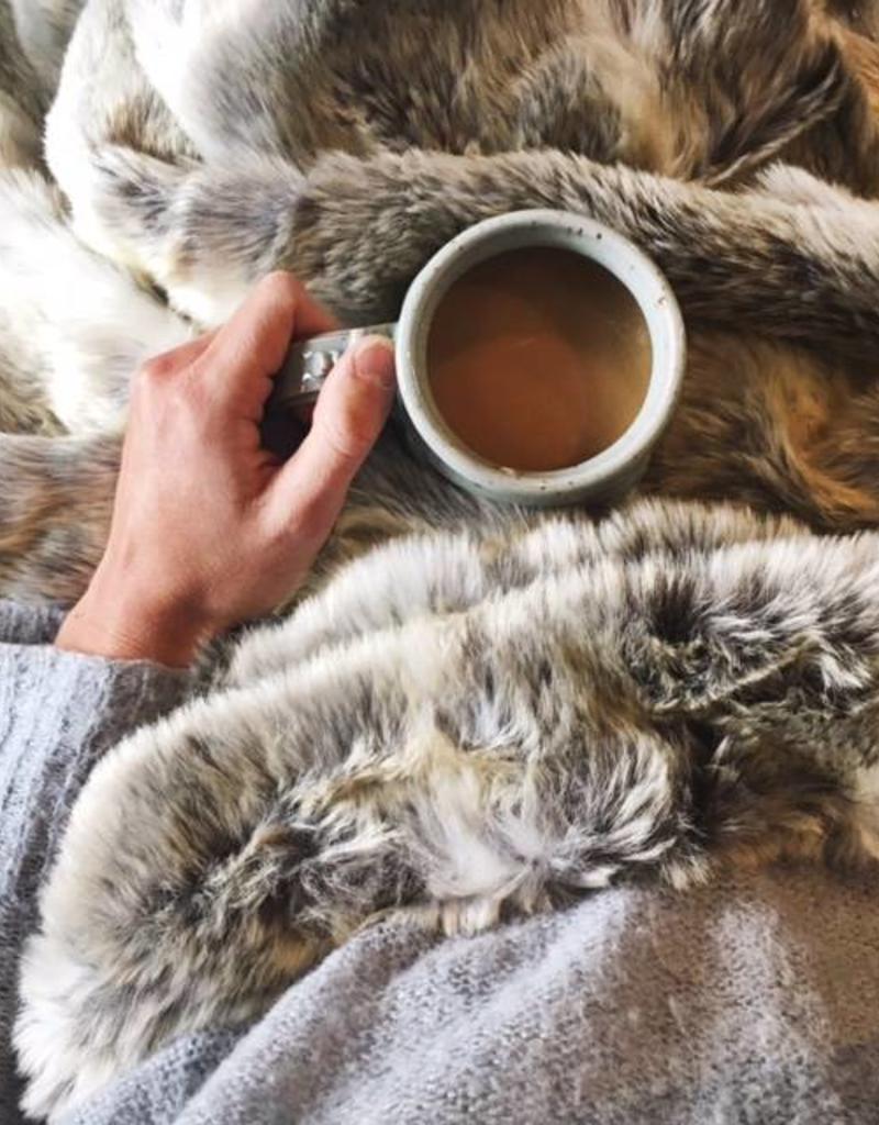 Cozy Grey Faux Fur Throw