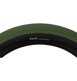 """Cult X Vans Tire 20"""" x 2.4"""" Olive Green Tread, Black Sidewall"""