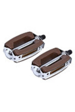 F & R Low Riders Krate 1/2 Pedals Brown/Chrome