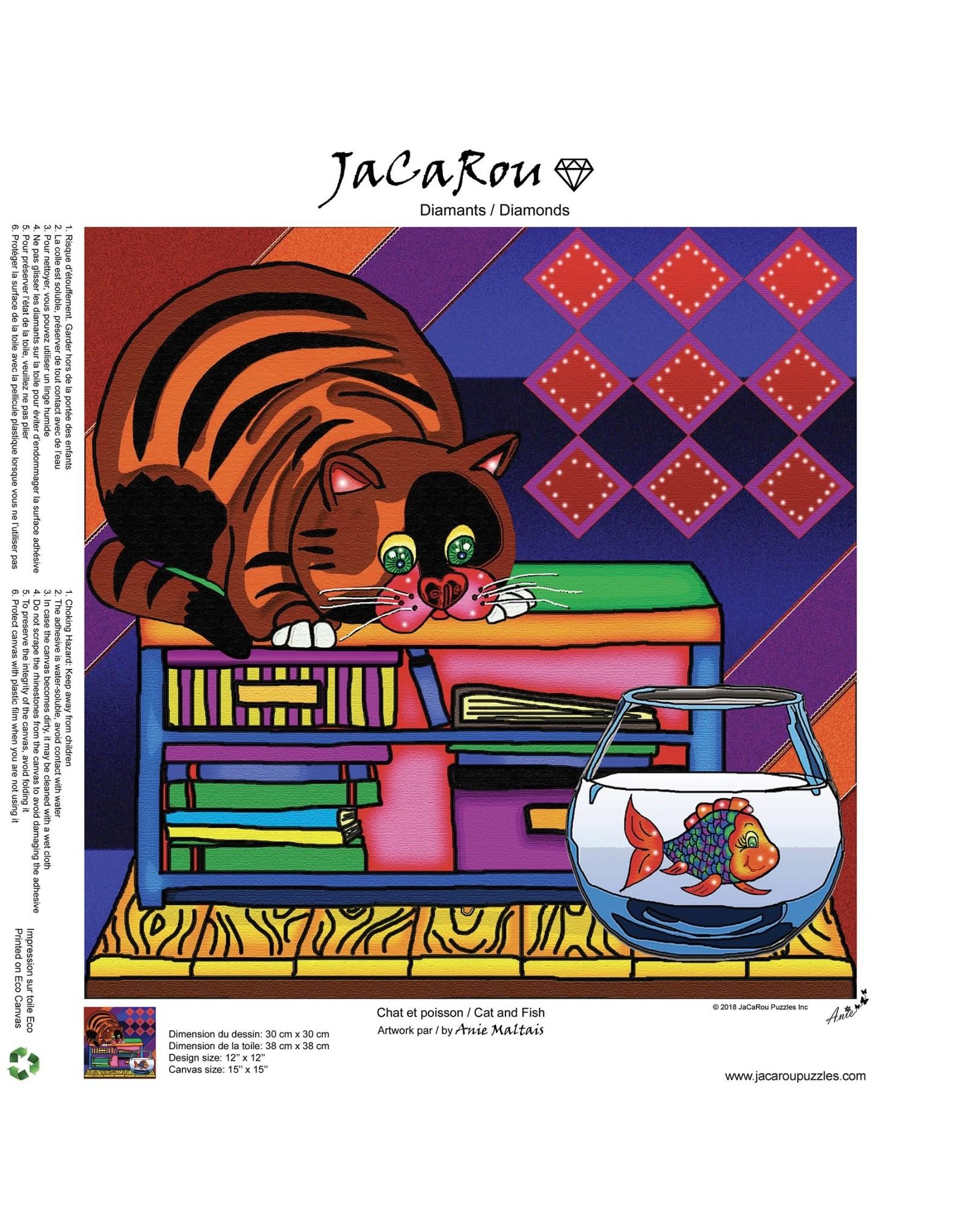 Jacarou Peinture aux diamants -  Chat et Poisson
