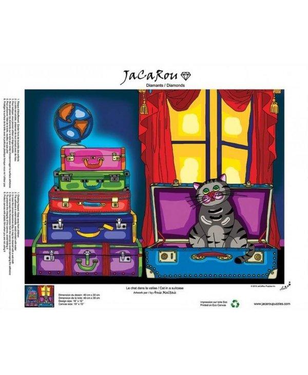 Peinture aux diamants - Le chat dans la valise (Ronds)