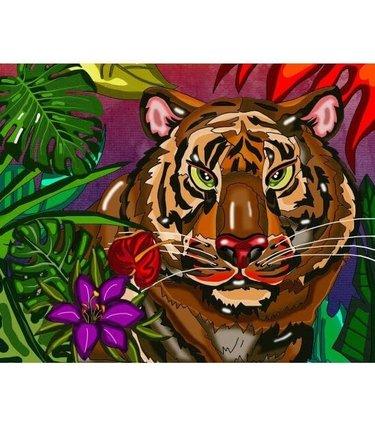 Peinture aux diamants - tigre (Ronds)
