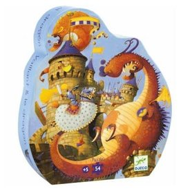 Djeco Puzzle Silhouette - Vaillant et le dragon 54mcx