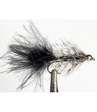 Hareline Dubbin Beadhead Grizzly Bugger Black size 8