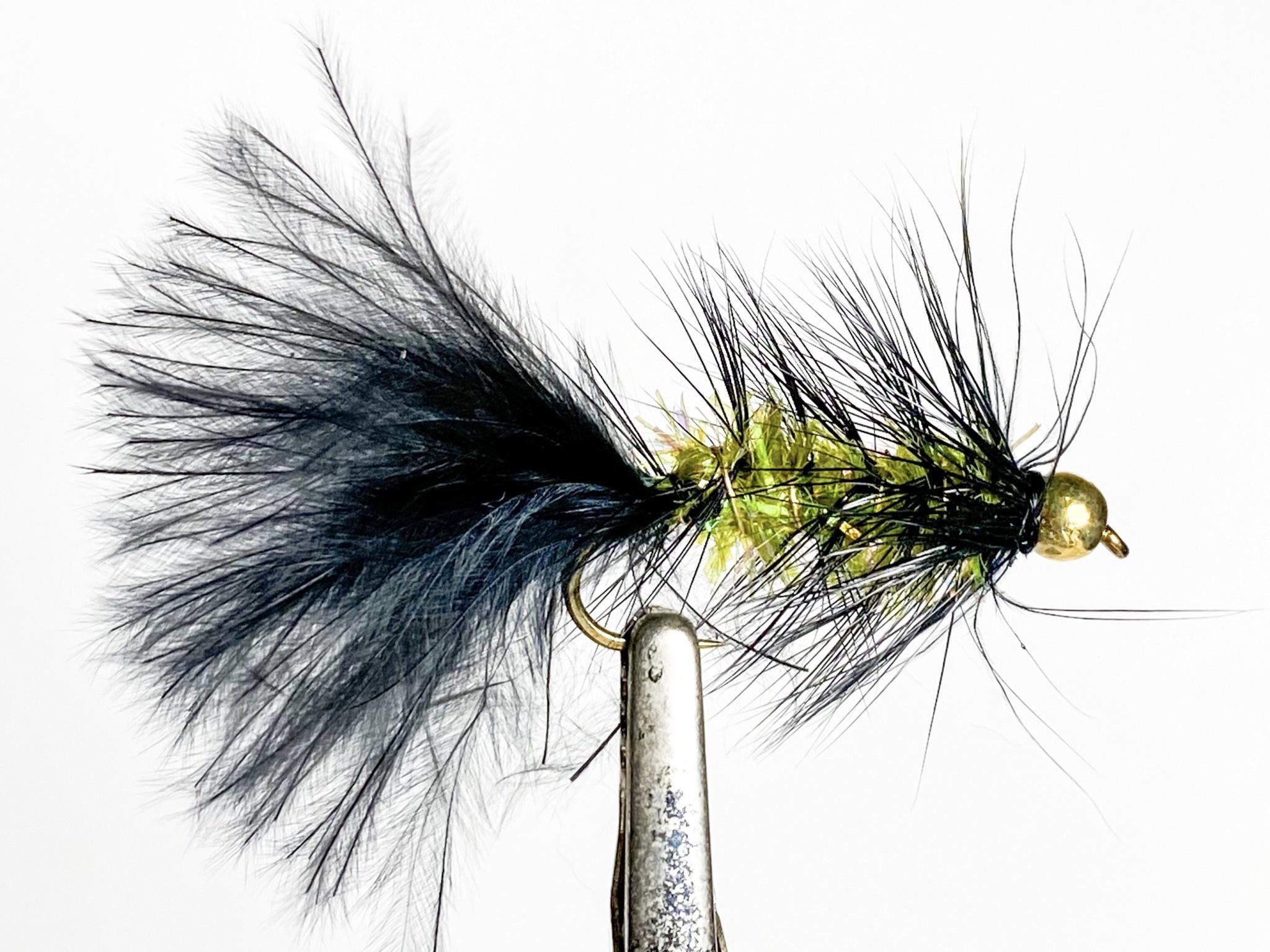 Solitude Flies Beadhead Crystal Body Bugger Black/Olive size 8