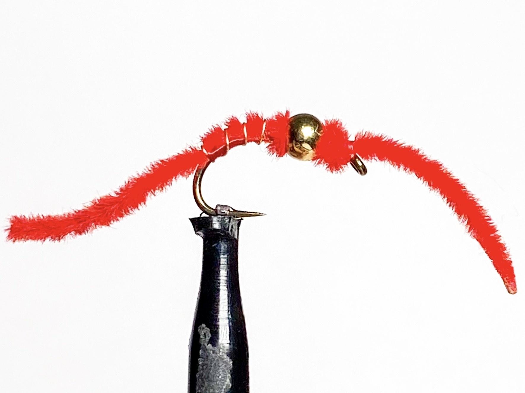 Solitude Flies Tungsten San Juan Worm Red size 12
