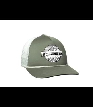 Sage Sage Foam Trucker Hat Olive Rising Trout One Size