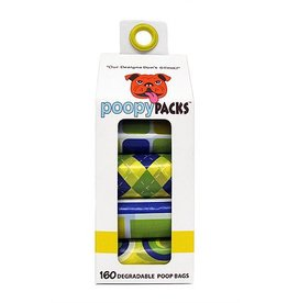Metro Paws Poopy Packs Yellow Multi 8 pack 160 ct Degradable Poop Bags